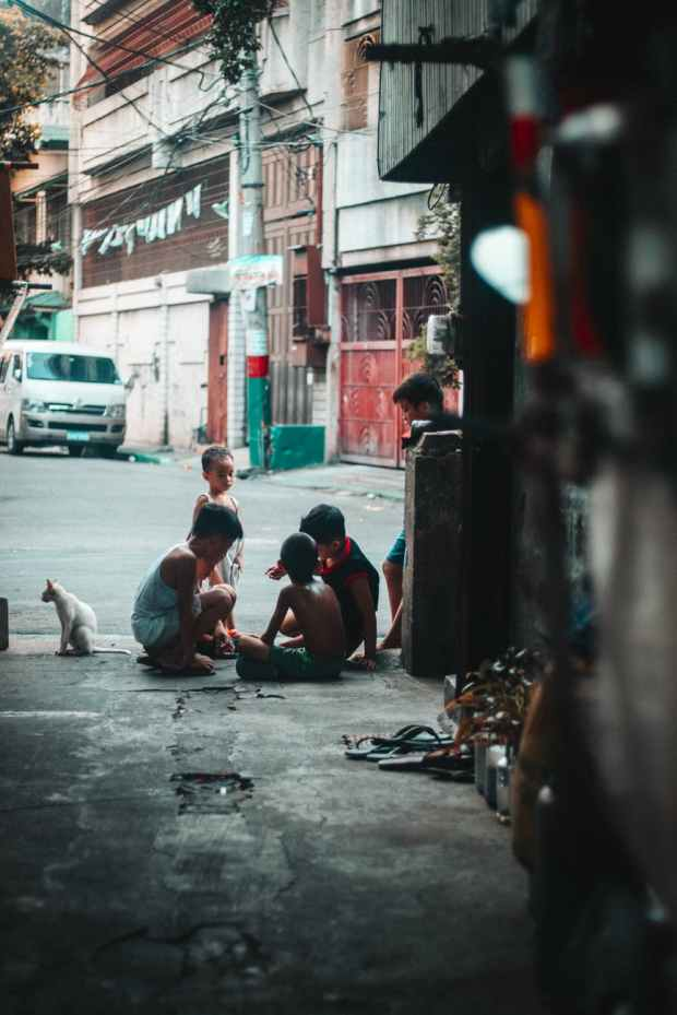 group of kids playing on the streets
