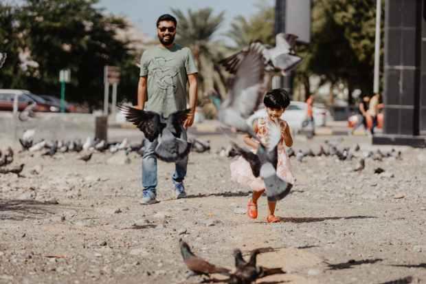 man and toddler walking near birds
